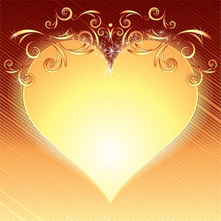 Valentine s Day Golden Heart Frame photo