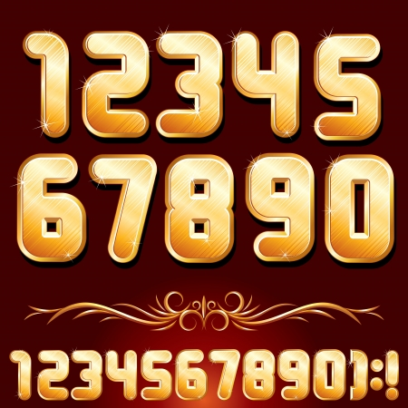 Golden Alphabet  Set of Metallic Numbers Vector Vector