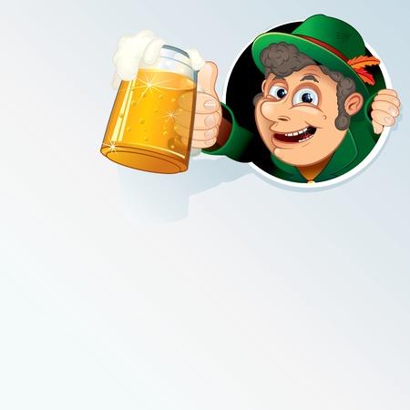 chope biere: Happy Man bavarois Tenir une bi�re d'Oktoberfest Stein