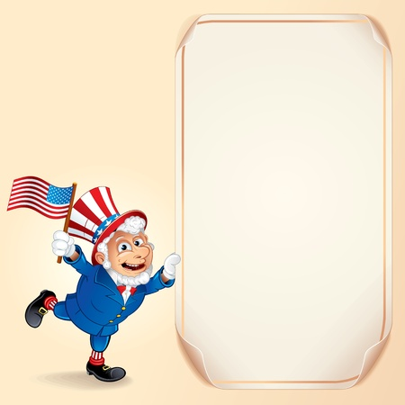 Cartoon Uncle Sam with USA Flag  Background photo