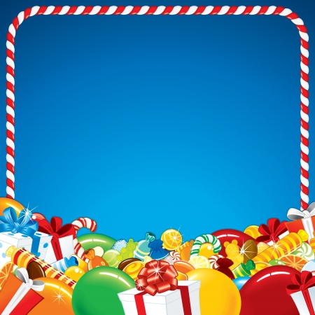 candy cane: Template for Happy Birthday Greeting Card