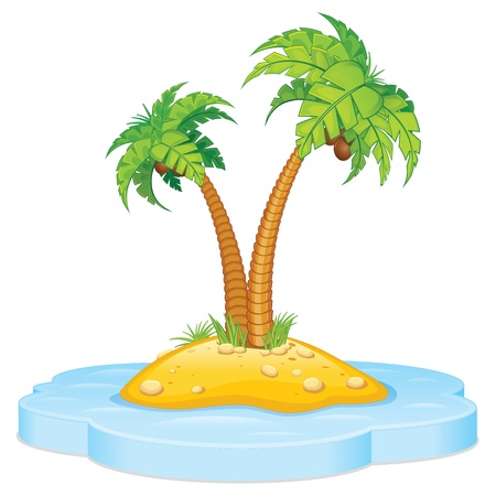Tropic Island met Coconut Palm Stockfoto