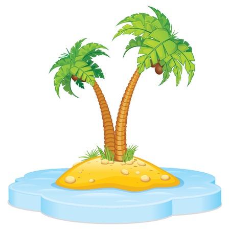 island cartoon: Tropic Island with Coconut Palm