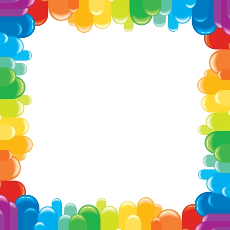 rainbow circle: Funky Colorful Frame  Vector Illustration