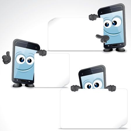 smartphone hand: Set of Funny Cartoon Smart Phone  Vector Clip Art