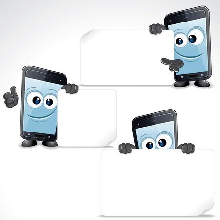 Set of Funny Cartoon Smart Phone  Vector Clip Art