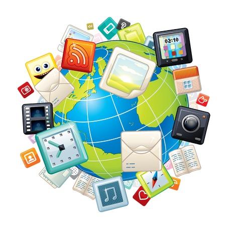 surround: Icons Flying Around Globe  Illustration