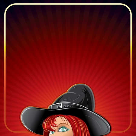 red head woman: Halloween Background with Witch