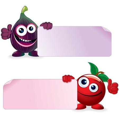 fig leaf: Cherry and Fig  Cartoon Illustration Stock Photo