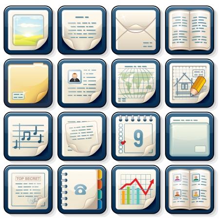 Icons with Paper Documents  Business Design Banco de Imagens