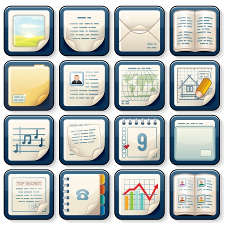 Icons with Paper Documents  Business Design Stockfoto