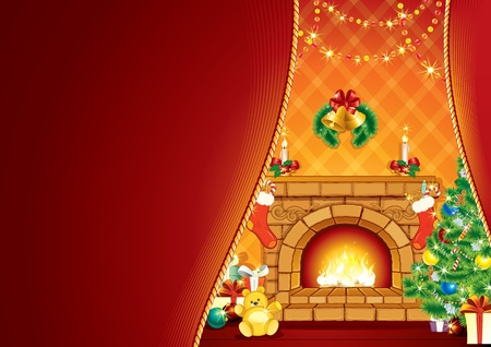 Festive Fireplace and Santa s Gifts   Stock Photo
