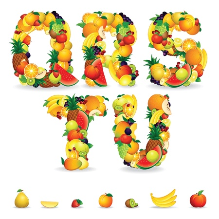 health collage: Colorful Letters from Fruit and Berries  Clip Art Stock Photo