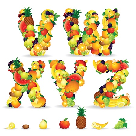 Colorful Letters from Fruit and Berries  Clip Art photo