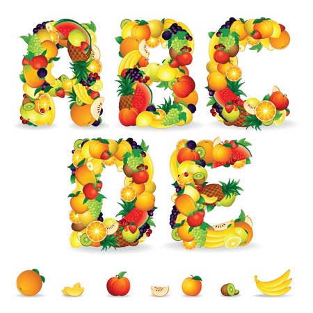 and vitamin: Colorful Letters from Fruit and Berries  Clip Art Stock Photo