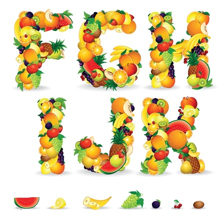 mixed fruit: Colorful Letters from Fruit and Berries  Clip Art Stock Photo