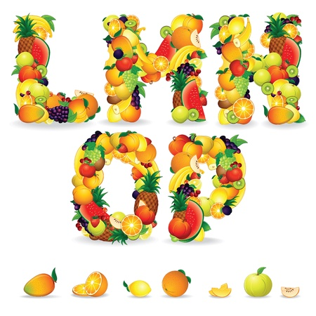 collage alphabet: Colorful Letters from Fruit and Berries  Clip Art Stock Photo