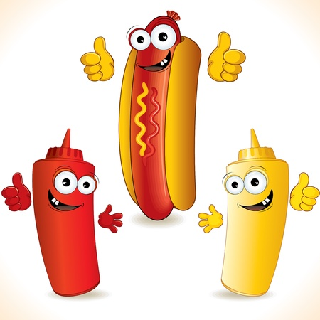 mustard: Smiling Cartoon Hot Dog with friends Stock Photo