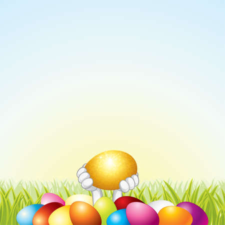 golden religious symbols: Easter Card Template Stock Photo