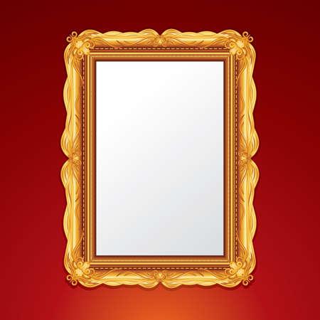 mirror frame: Gold Vintage Picture Frame. Illustration