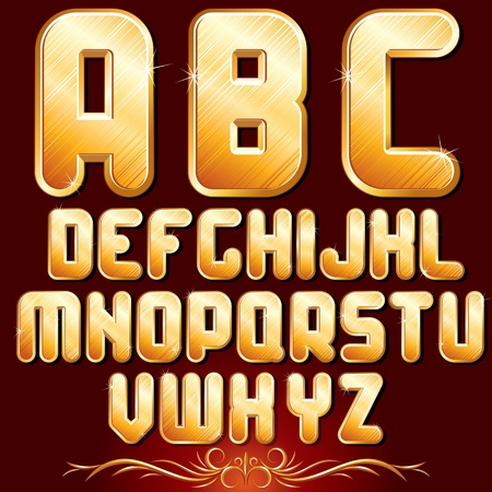 Original Golden Alphabet. Set of Luxury Metallic Letters for Your Text Designs or Logos. photo