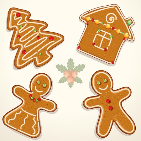 sugar cookies: Christmas Gingerbread Cookies Stock Photo