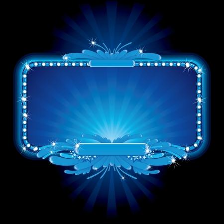 Blauw luxe neon teken, beeld klaar voor uw tekst