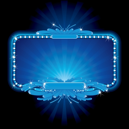 billboards: Blue luxury neon sign, image ready for your text
