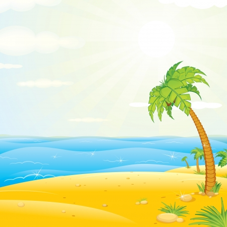 Tropical Island. Colorful Illustration Stock Illustration - 19841431