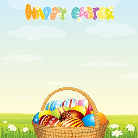 Easter Card Template. Wicker Basket with Colorful Eggs on Spring Meadow photo