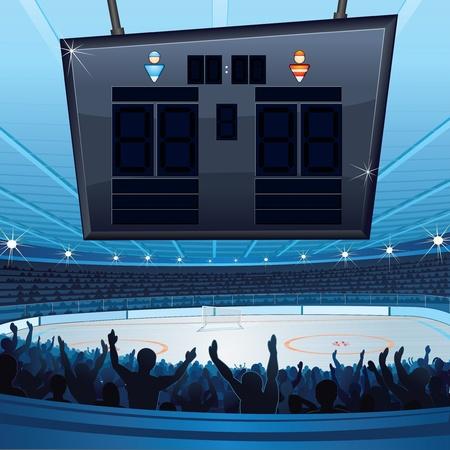 cartoon hockey: Hockey Stadium  Background with Empty Scoreboard