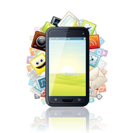 surrounded: Smartphone, surrounded by Media Apps Icons  Stock Photo