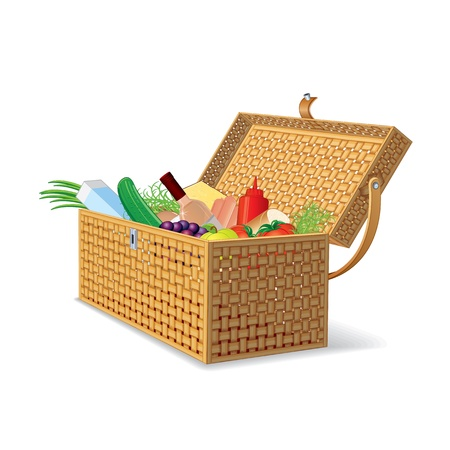 Illustration of Wicker Picnic Basket with Food illustration