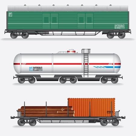 carreta madera: Conjunto de Rail Freight Car furgones del tren