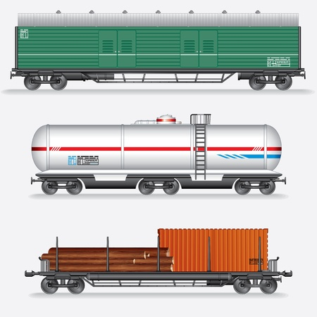 wagon: Set of Rail Freight Car, Train Waggons  Stock Photo
