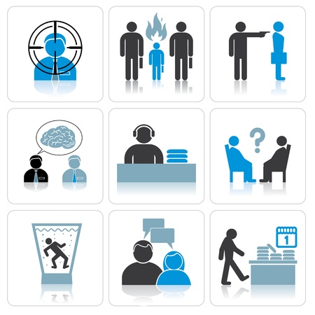 alcoholism: Management and Business Icons Illustration
