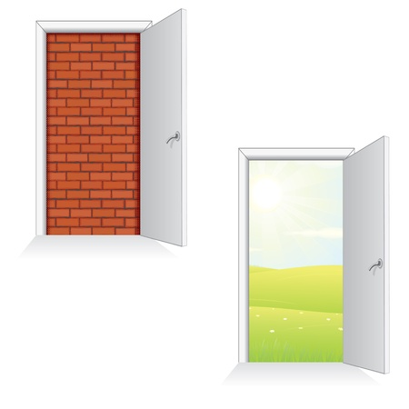 end of the world: Opened Door Ideas  Isolated Vector Illustration