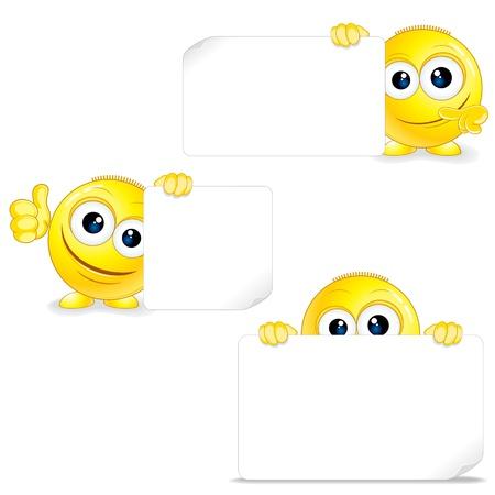 smiley pouce: Funny Smiley avec le signe et Thumb Up Vector Illustration