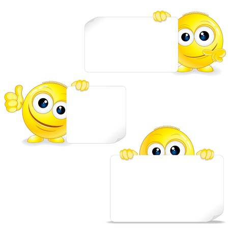 Funny Smiley with Sign and Thumb Up  Vector Vector