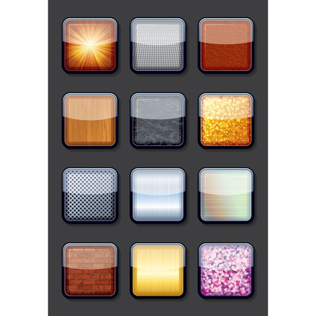 Collection of Eps10 Shiny Empty Textured Buttons Vector
