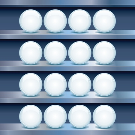Metal Shelf with Empty Glass Buttons  Vector Image Stock Vector - 19875229