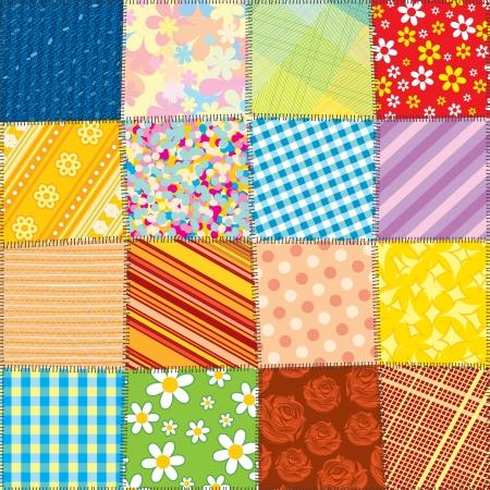 Quilt Patchwork Textuur Naadloze Vector Patroon