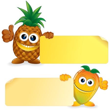 children eating fruit: Pineapple with Mango  Vector Cartoon Illustration