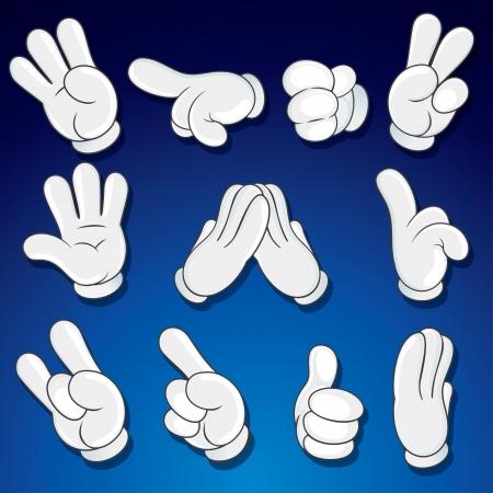 forefinger: Comics Cartoon Hands, Gestures, Signs Stock Photo