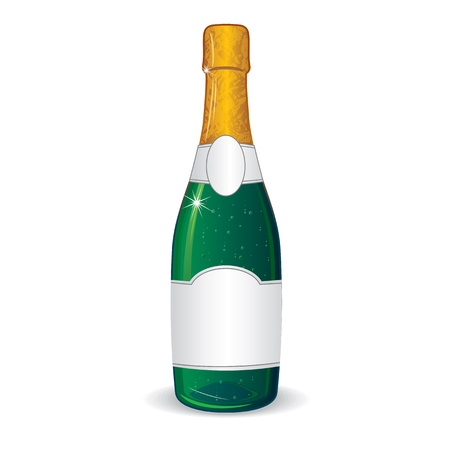 champagne bubbles: Champagne Bottle with Blank Label for Your Text Stock Photo