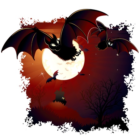 Halloween Illustration with Swarm Bats and Mansion illustration