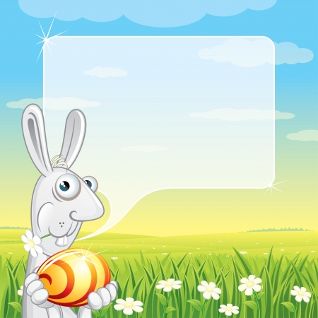 Easter Bunny with Speech Balloon for your text Stock Photo - 20043172