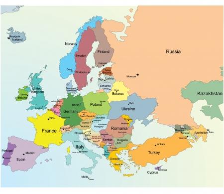 mapa politico: Mapa Europeo