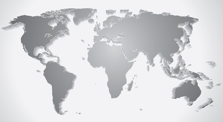 3D World Map Silhouette Stock Photo - 20043171