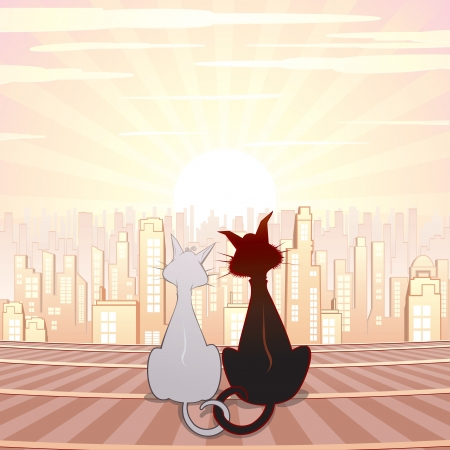 Two Cute Cats on Roof  Cartoon Illustration